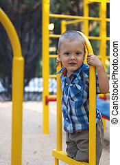 a little boy on playground