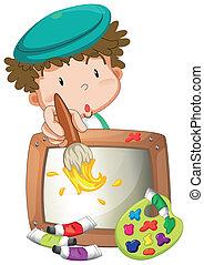 A little boy painting - Illustration of a little boy ...