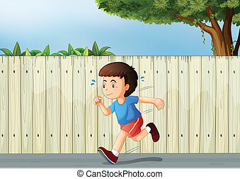 A little boy running at the road - Illustration of a little...