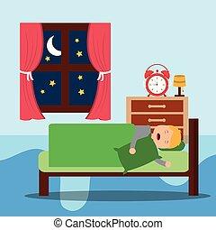 A Little boy sleeps in the night.