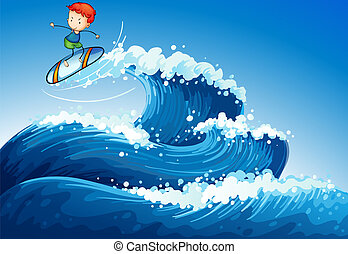 A little boy surfing at the sea - Illustration of a little...