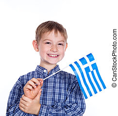 A little boy with greek flag on the white background
