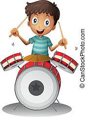 A little drummer - Illustration of a little drummer on a...
