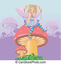 A little fairy on mushroom