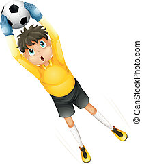 A little football player catching the ball - Illustration of...