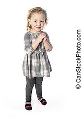 A little girl 3 years old isolated on white background