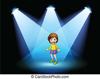 Illustration of a little girl acting at the center of the stage