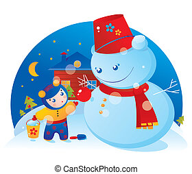 A little girl and a snowman