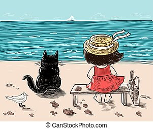 A little girl and her cat are sitting on the seashore