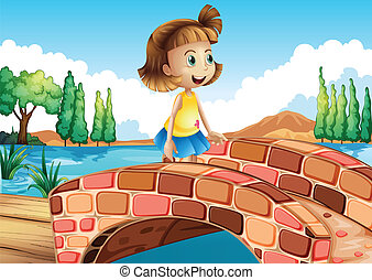 A little girl crossing the bridge