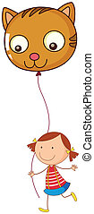 A little girl holding a cat balloon - Illustration of a...