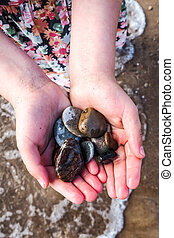 A little girl holds in her hands colored sea pebbles on the beach