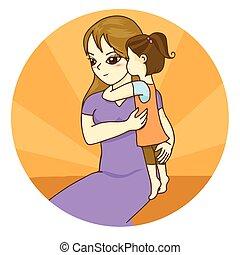 A little girl hug her mother