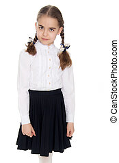 A little girl in a white dress and a dark skirt.
