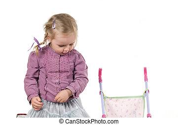 A little girl in studio
