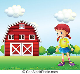 A little girl in the barn