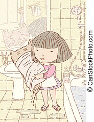 A little girl in the bathroom with her cat