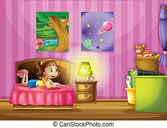 Illustration of a little girl inside her colorful room