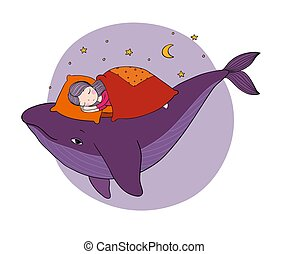 A little girl is sleeping on a whale. Cozy bed. sea theme. Hand drawing isolated objects on white background.