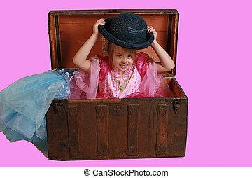 dress up - A little girl playing dress up in grandmas...