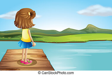 A little girl standing at the wooden port - Illustration of...