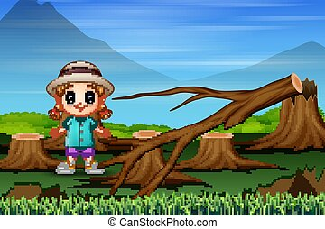 A little girl standing near pieces of tree due to deforestation