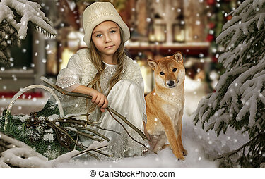 A little girl with a dog