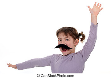 A little girl with a mustache.