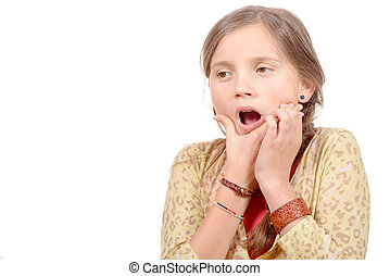 little girl with a toothache isolated on the white background
