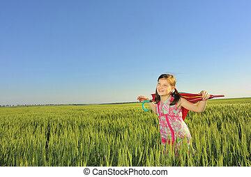 a little girl with a umbrella