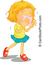 A little girl with colds - Illustration of a little girl ...