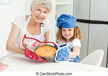 A little girl with her grandmother