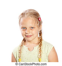 a little girl with long plaits