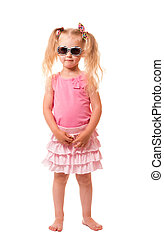 A little girl with sunglasses isolated on white