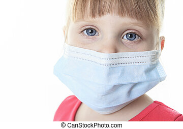 Little girl with the protective mask