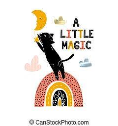 A little magic print with a cute black cat standing on rainbow and catching the star