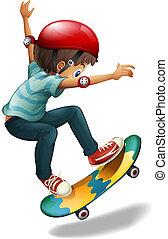 A little man skateboarding - Illustration of a little man...