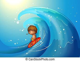 A little man surfing - Illustration of a little man surfing