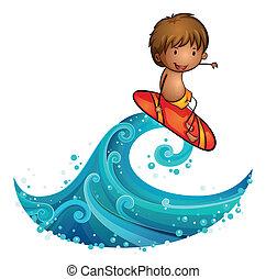 A little man surfing