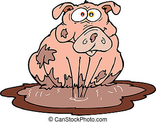 pig - A little piggy sitting in mud