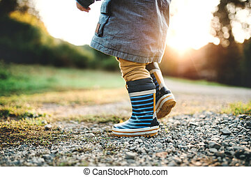 A little toddler boy walking outdoors in nature at sunset. Rear view.
