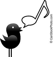 A tweety bird sings or talks music in a musical note speech bubble.