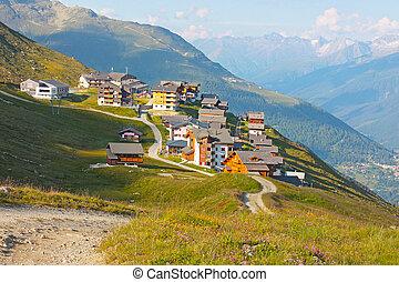 a little village in Switzerland Alps mountains