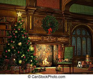 a living room on Christmas Eve