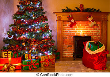 A Living room on Christmas Eve with tree and gifts