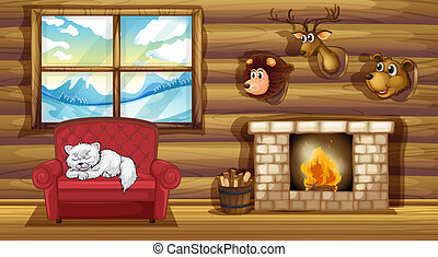 A living room with stuffed animal head decors - Illustration...