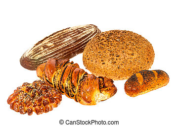 loaf of bread with sesame seeds and roll with poppy seeds