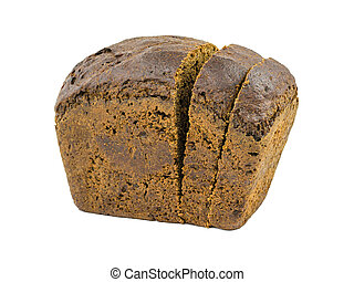A loaf of dark bread with cut pieces isolated on a white ...
