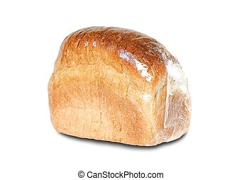A loaf of sliced bread. Close up. Isolated on white background
