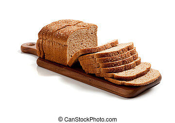 a loaf of sliced wheat bread on a wooden cutting board on white